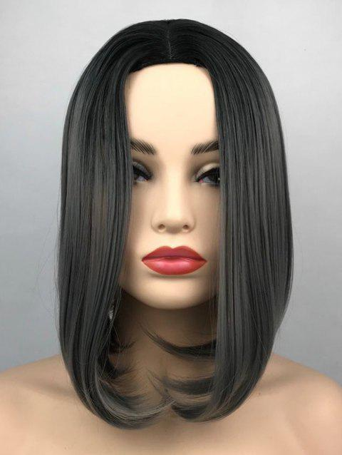 Middle Part Ombre Short Straight Bob Synthetic Wig - multicolor C