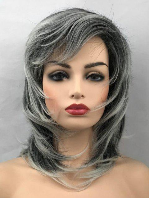 Medium Side Bang Colormix Layer Tail Adduction Straight Synthetic Wig - multicolor