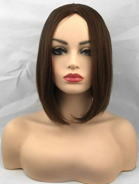 Middle Part Straight Capless Short Synthetic Wig - BROWN