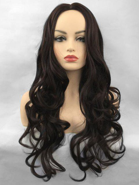 Middle Part Long Wavy Party Capless Synthetic Wig - DEEP BROWN