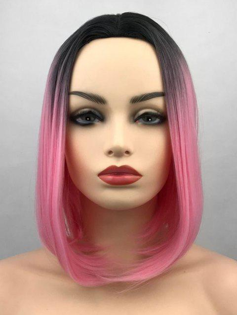Middle Part Ombre Short Straight Bob Synthetic Wig - multicolor E