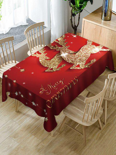 Merry Christmas Deer Print Fabric Waterproof Table Cloth - multicolor W60 X L84 INCH