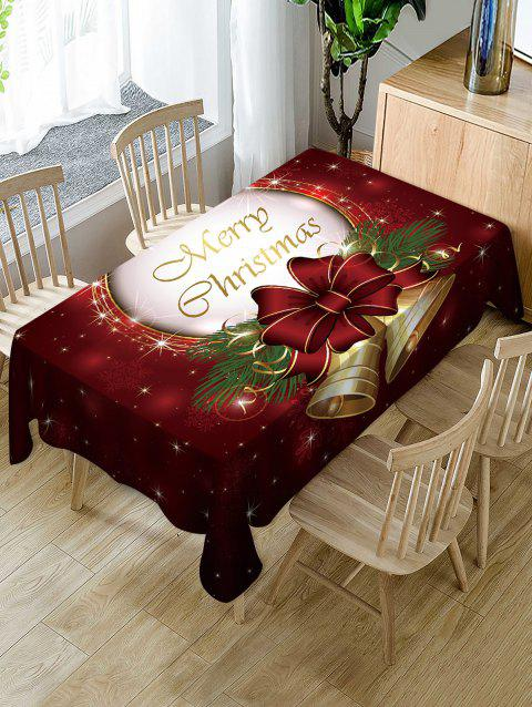 Merry Christmas Bell Print Fabric Waterproof Table Cloth - multicolor W60 X L84 INCH