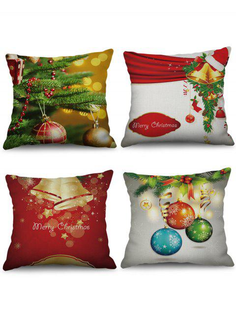 4PCS Christmas Bell Ball Printed Pillowcases - multicolor W18 X L18 INCH
