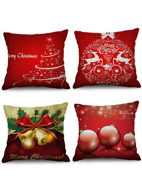 4PCS Christmas Tree Bell Elk Printed Pillowcases - multicolor W18 X L18 INCH