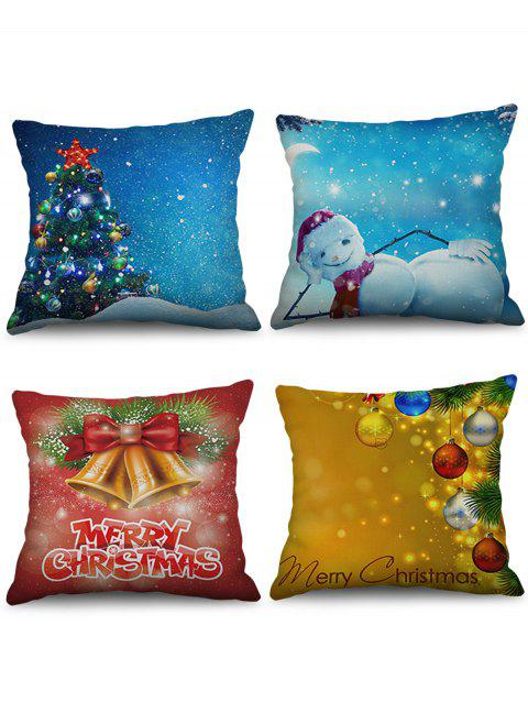 4PCS Christmas Tree Bell Snowman Printed Pillowcases - multicolor W18 X L18 INCH