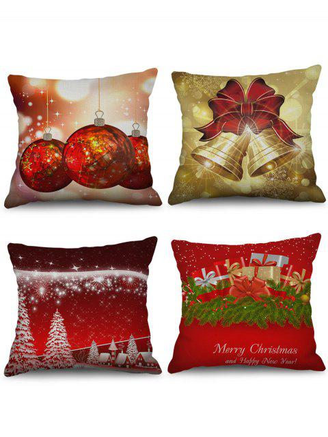 4PCS Christmas Tree Bell Gift Printed Pillowcases - multicolor W18 X L18 INCH