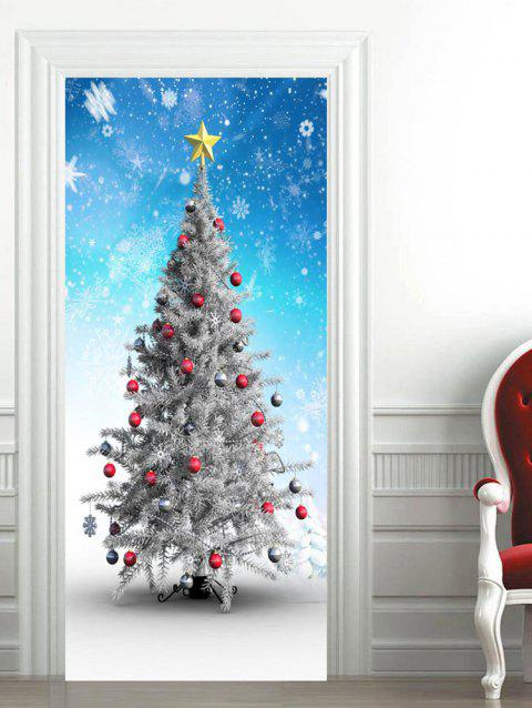 Snowflakes Christmas Baubles Star Printed Door Stickers - multicolor 2PCS X 15 X 79 INCH