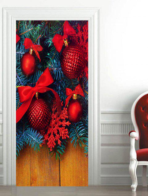 Christmas Baubles Printed Door Stickers - multicolor 2PCS X 15 X 79 INCH