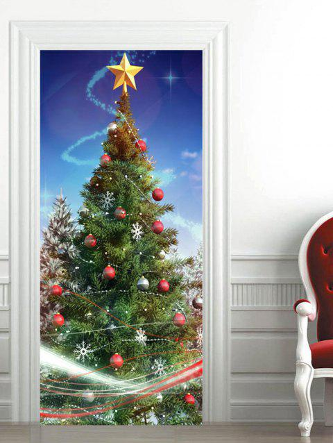 Christmas Tree Baubles Star Pattern Door Stickers - multicolor 2PCS X 15 X 79 INCH