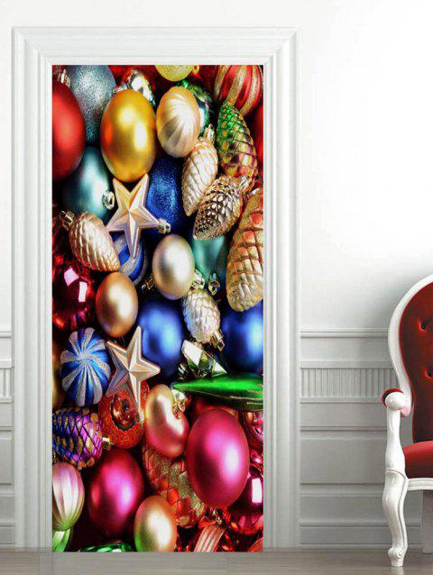 Christmas Baubles Pattern Door Stickers - multicolor 2PCS X 15 X 79 INCH