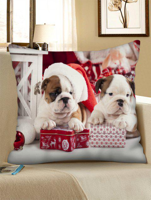Christmas Dogs Gift Printed Throw Pillow Case - multicolor W18 X L18 INCH