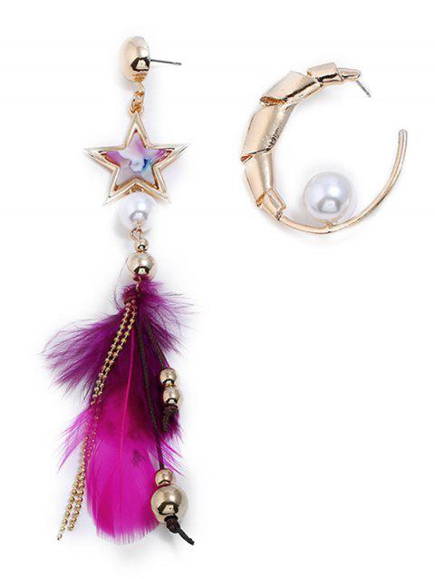 Asymmetric Star Beaded Feathered Decoration Earrings - GOLD