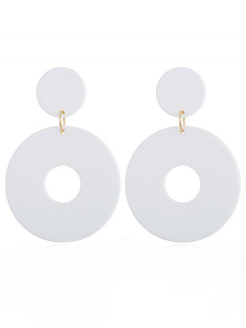 Simple Hollow Round Shape Drop Earrings - WHITE