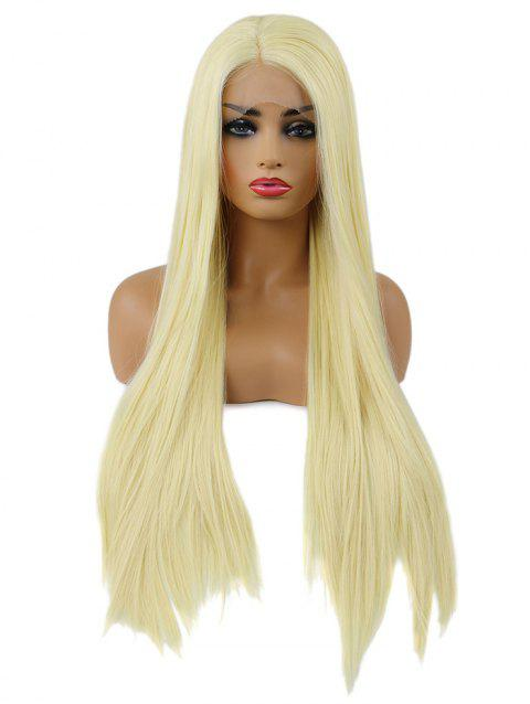 Long Straight Party Cosplay Synthetic Lace Front Wig - BLONDE 24INCH