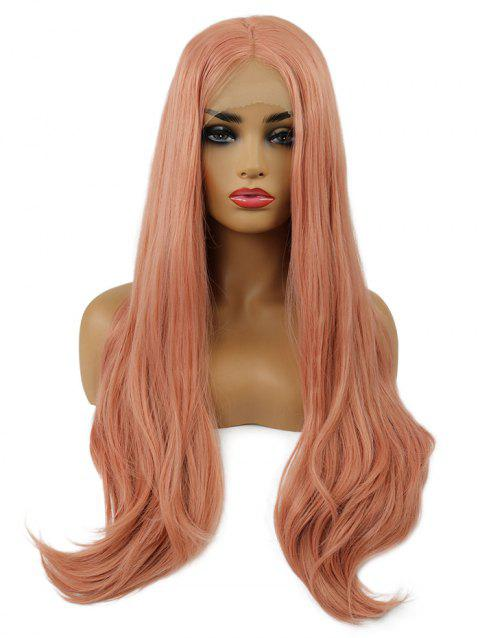 Middle Part Long Straight Cosplay Lolita Synthetic Lace Front Wig - ORANGE PINK 24INCH