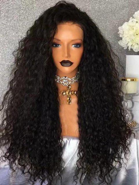 Free Part Long Water Wave Party Synthetic Lace Front Wig - BLACK 24INCH
