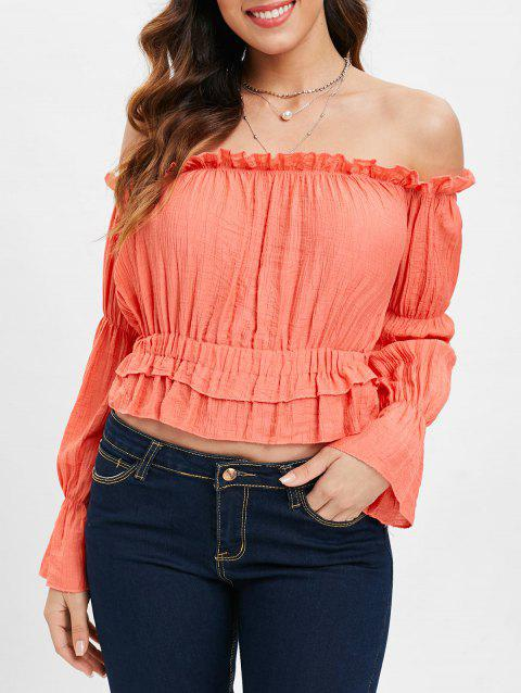 Off The Shoulder Ruffles Crop Top - LIGHT CORAL L