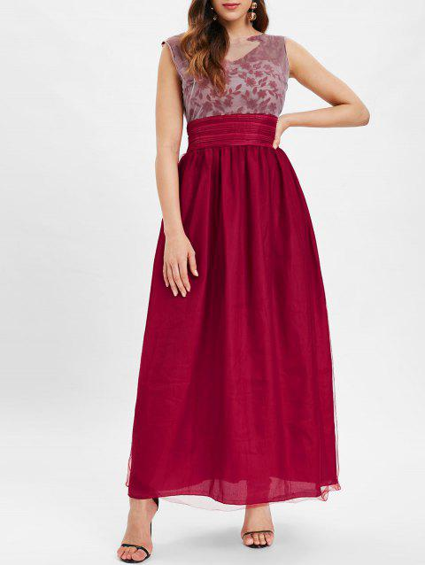 Embroidered Sleeveless Maxi Dress with Mesh - RED WINE M