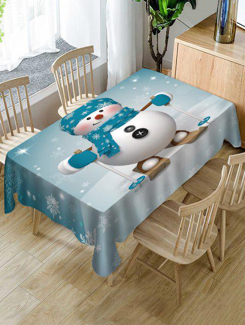 Christmas Snowman Skiing Print Fabric Waterproof Table Cloth - multicolor W60 X L84 INCH
