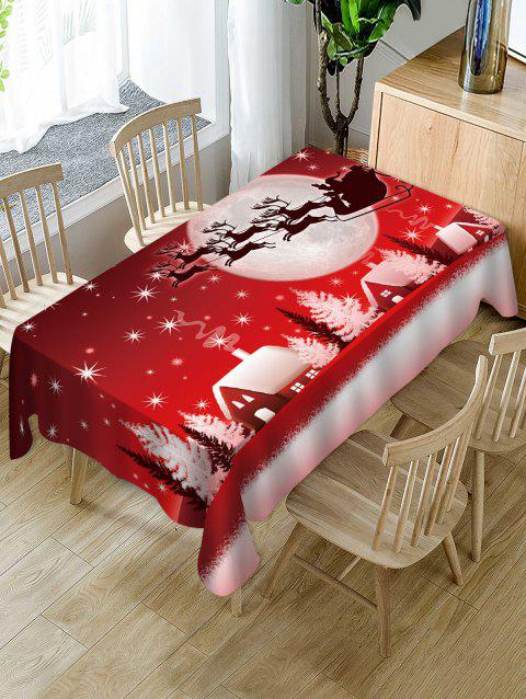 Christmas Night Deer Print Fabric Waterproof Table Cloth - multicolor W54 X L72 INCH