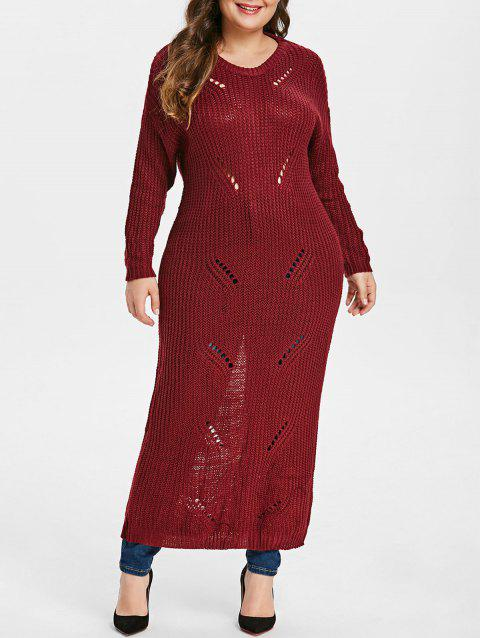 Plus Size Ripped Chunky Maxi Knit Dress - RED WINE ONE SIZE