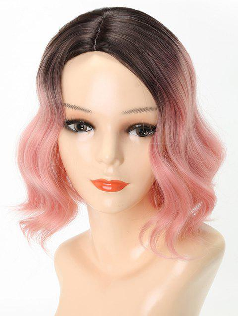 Short Ombre Side Parting Wavy Party Lolita Synthetic Wig - WATERMELON PINK