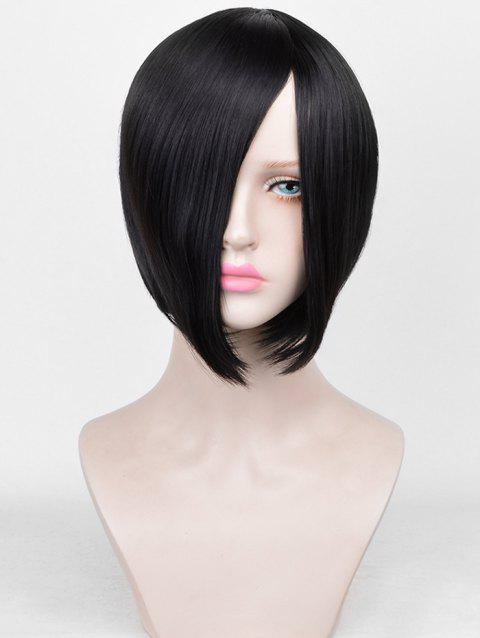 Inclined Bang Straight Short Bob Synthetic Wig - BLACK