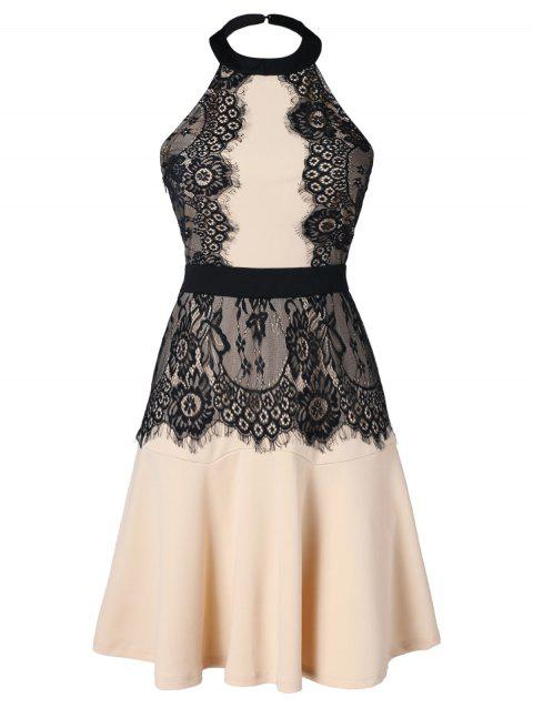Lace Panel Halter Dress - BLANCHED ALMOND L