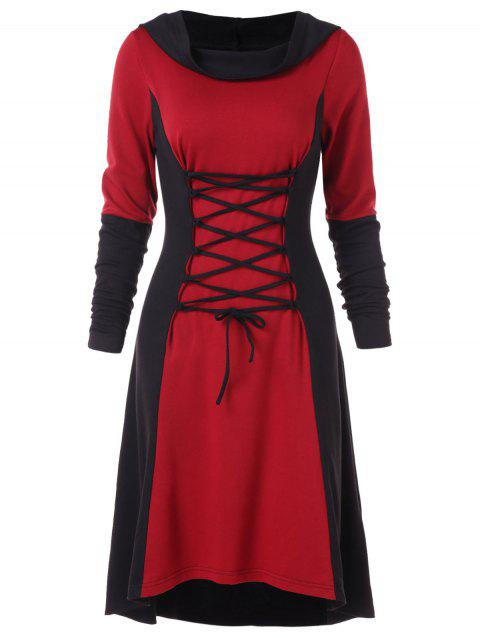 Lace Up Two Tone Gothic Hooded Dress - RED WINE M