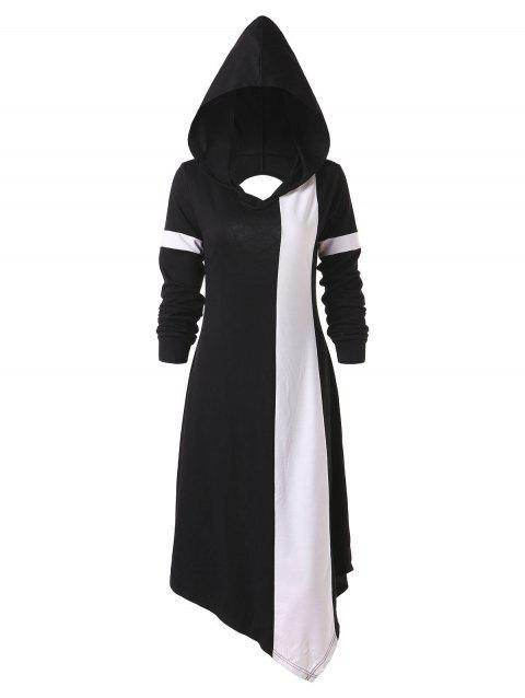 Asymmetrical Contrast Hoodie Dress - BLACK M