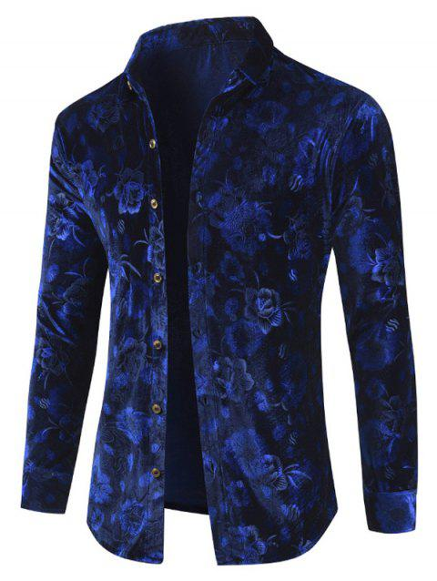 Velveteen Floral Button Up Shirt - COBALT BLUE L