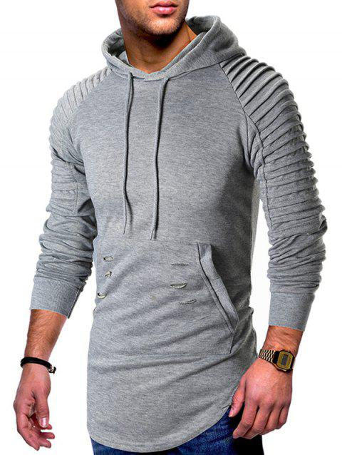 Pleated Raglan Sleeve Ripped Pullover Hoodie - LIGHT GRAY L