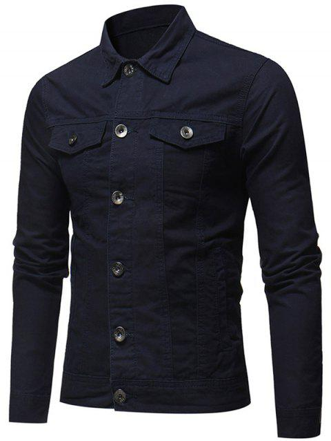 Veste en Couleur Unie Boutonnée en Denim - Cadetblue XL