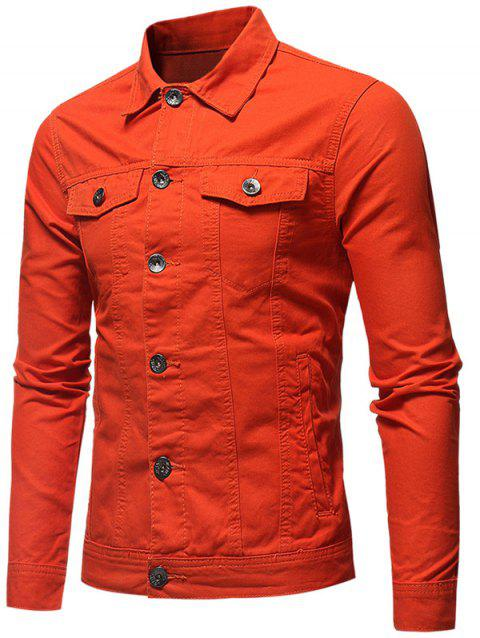 Veste en Couleur Unie Boutonnée en Denim - Orange L