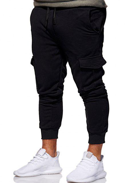 9bc203f3 75% OFF] 2019 Multi Pocket Design Drawstring Jogger Pants In BLACK ...