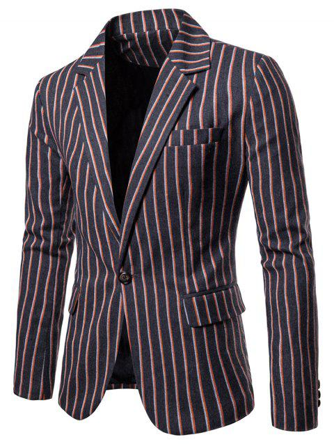 Lapel Collar Striped One Button Blazer - DARK SLATE GREY 2XL