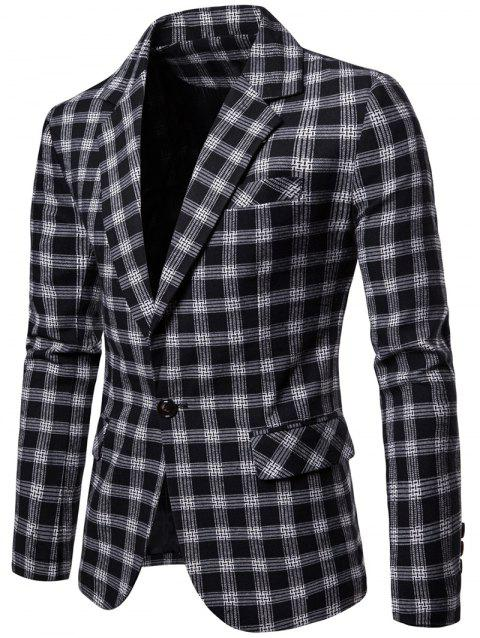 One Button Lapel Collar Checked Blazer - BLACK 2XL