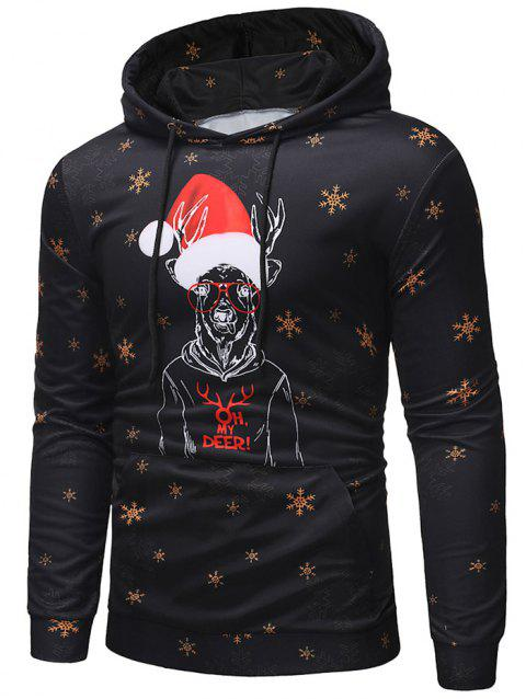 Deer with Christmas Cap Print Pullover Hoodie - BLACK 3XL