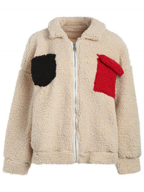 Contrast Pockets Fluffy Coat - BLANCHED ALMOND XL