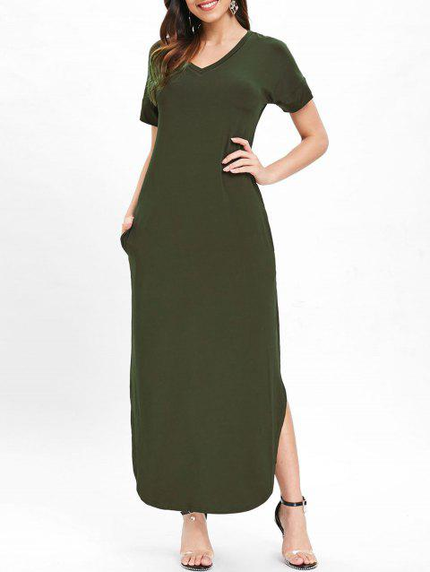 Side Slit Maxi Dress - DEEP GREEN XL