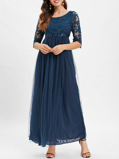 Boat Neck Lace Panel Maxi Tulle Dress - MIDNIGHT BLUE M