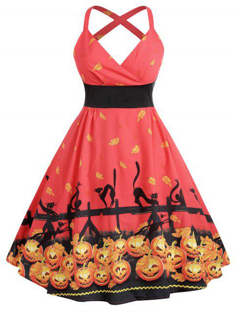 Plus Size Cat Print Halloween Dress - BEAN RED 5X
