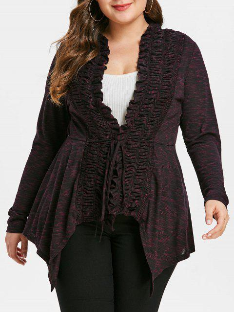 Plus Size Heather Collarless Shirred Coat - multicolor L