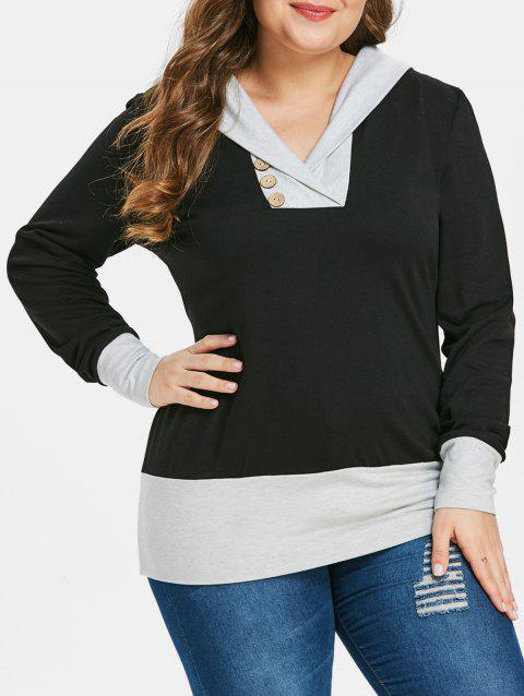 Plus Size Two Tone Button Embellished Hoodie - BLACK 1X