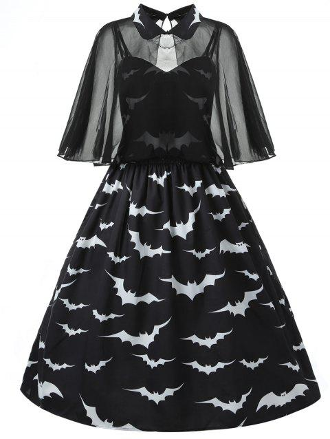 Halloween Plus Size Bat Print Capelet Dress - BLACK L
