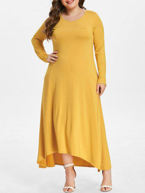 2018 Plus Size Front Pockets High Low Dress Yellow X In Dresses 2018
