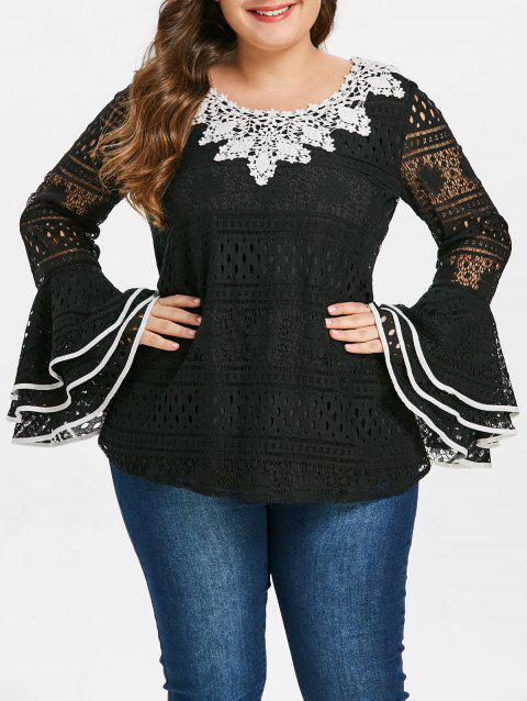 Plus Size Bell Sleeve Lace Blouse - BLACK L