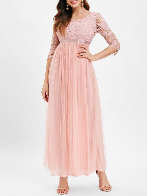Boat Neck Lace Panel Maxi Tulle Dress - LIGHT PINK L