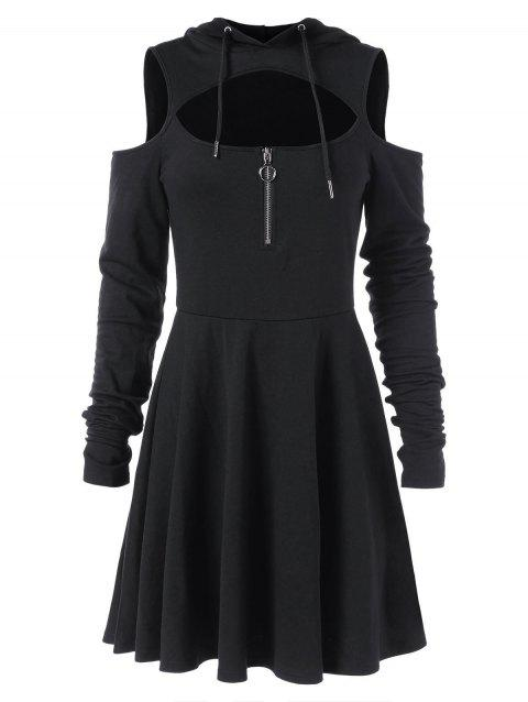 Cold Shoulder Long Sleeve Hooded Dress - BLACK M